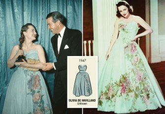 Olivia de Havilland wore this sweet pale blue dress designed by Ann Lowe when she accepted her Oscar for her role in To Each His Own.
