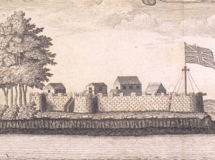 Historical image of the British slave fortress of Bunce Island