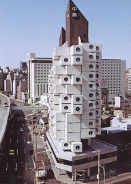 Nakagin Capsule Tower, Metabolist architecture in Tokyo.