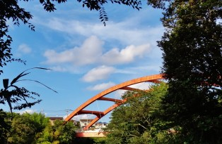 Hanami River Chiba 5 red bridge detail