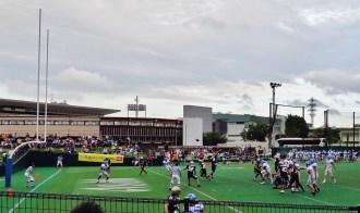 American footbal in Japan end-zone pass