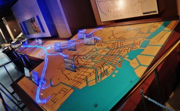 Tokyo water museum water canal map lights