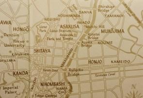 Map of Yoshiwara and Sanya, Tokyo, after 1923.
