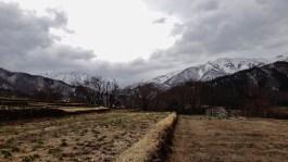Shirakawa snow capped mountains
