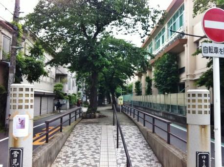 Raised walking path of the former Tachiaigawa river, now a green road in Meguro-ku, Tokyo.