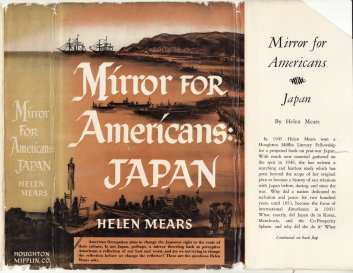 """Dust jacket for """"Mirror for Americans: Japan"""", by Helen Mears."""