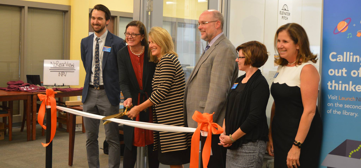ribbon cutting ceremony for the opening of LaunchNET in its new location