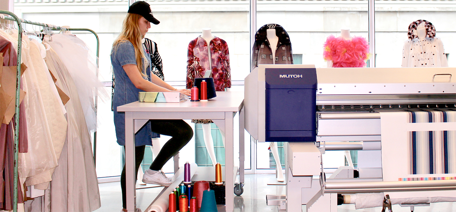 A fashion student works on a project in the TechStyleLAB