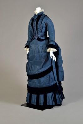 Blue silk taffeta and velvet walking dress, American, 1873-4.