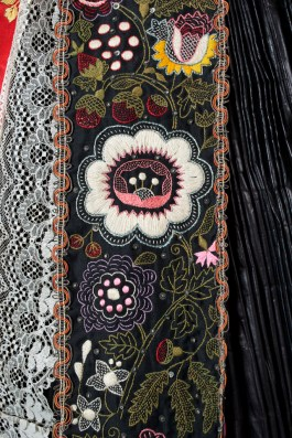Here is a detail of the panel of embroidery that is part of the skirt.