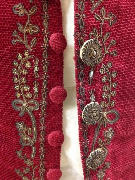 Detail of the waistcoat open showing the functional velvet buttons.