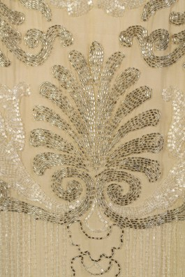 Detail of beading on evening dress of silk chiffon, KSUM 1983.1.330