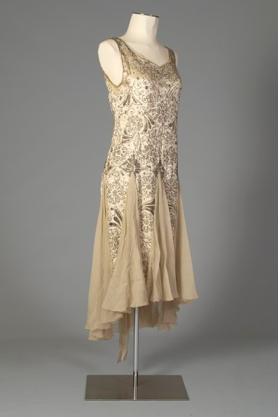 Beaded evening dress of cream satin and chiffon, American, late 1920s, KSUM 1983.1.341.