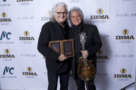 Ricky Skaggs with Marty Stuart during IBMA Bluegrass Music Hall of Fame Ceremony. Photo credit: Jeff Fasano
