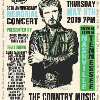 Keith Whitley 30th Anniversary Memorial Concert Poster - designed by Corey Frizzell.