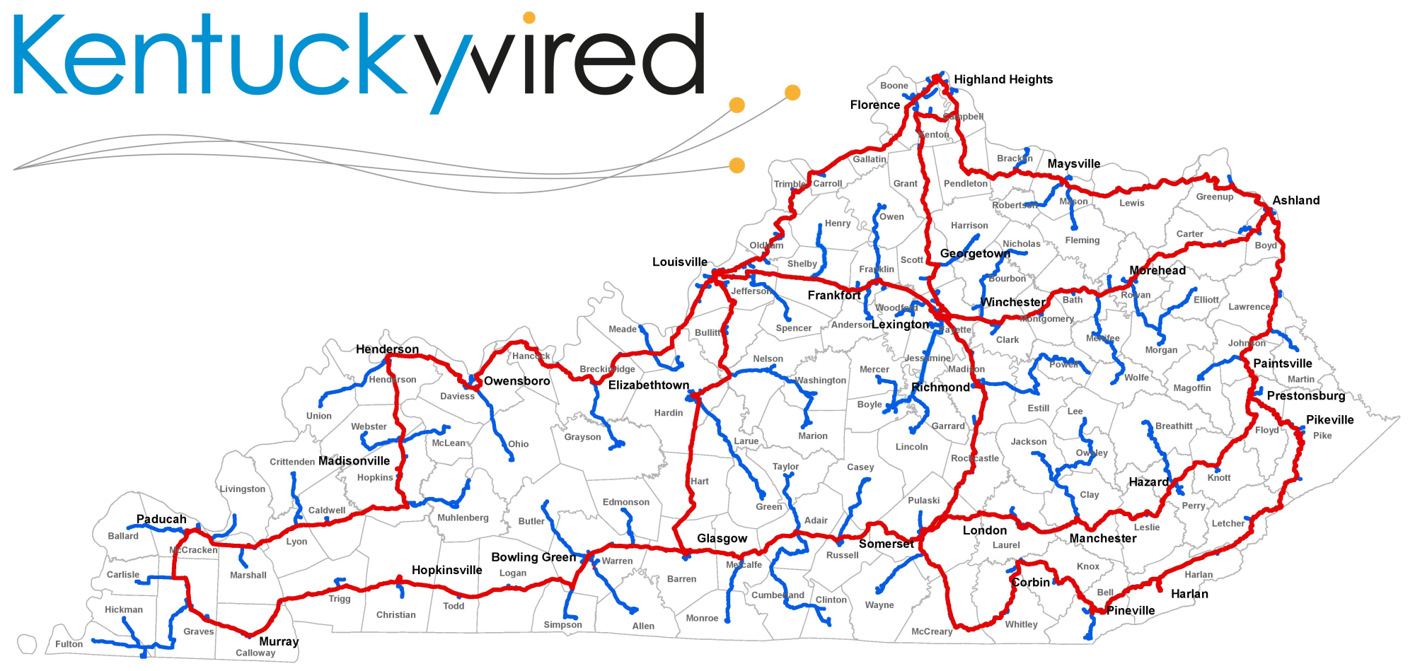 hight resolution of kentuckywired is a state run project constructing over 3 000 miles of high speed high capacity fiber optic cable in every county in kentucky