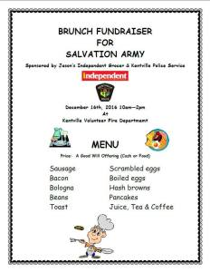 Brunch Fundraiser for the Salvation Army ~ December 26th
