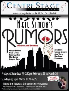 """Rumors"" … Opening at CentreStage Theatre"