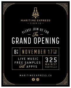 """Maritime Express Cider"" ~ Grand Opening Nov. 17th"