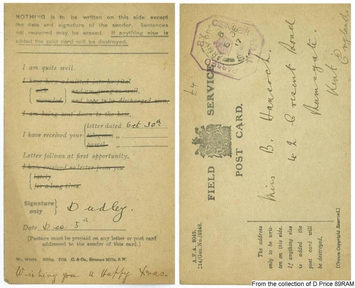 Dudley's Postcard (Front & Back) Transcribed