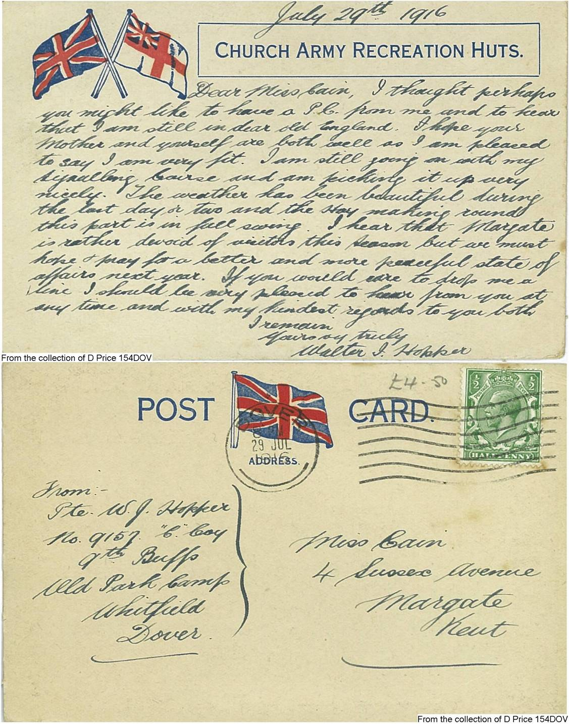 154DOV - Church Army Recreation Huts (Postcard) (Front & Back)