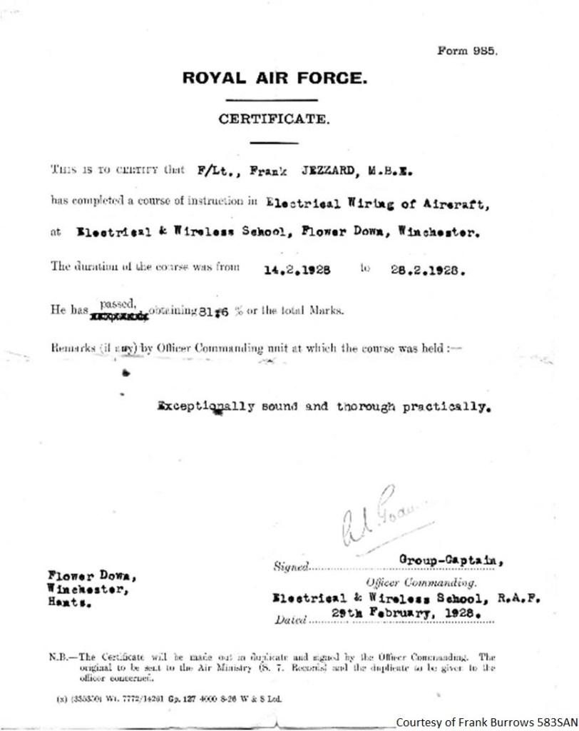 583SAN - Frank Jezzard RAF Certificate
