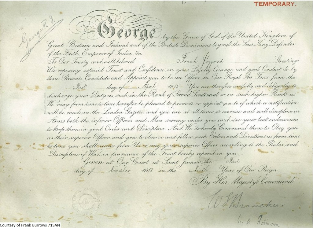 71SAN - Frank Burrows - MBE Certificate