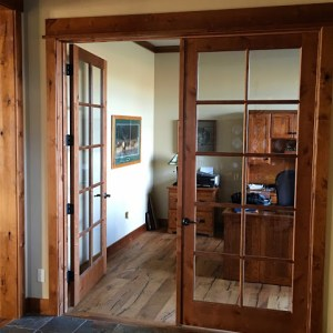 Home office with rustic Montana finishes