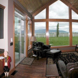 Craftsman Hearth room with Montana view