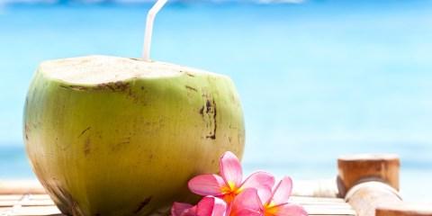 Coconut cocktail on beach