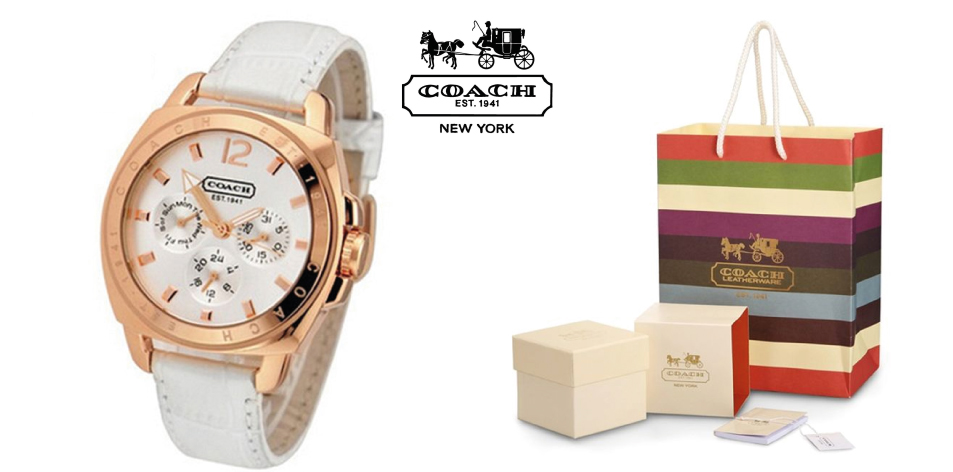 H&S Fashion Feature Of The Week- Classic Coach Women's White Leather Strap Quartz Watch