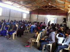 church members inside the new building