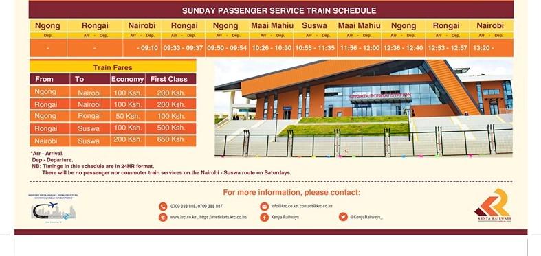 SGR Phase 2A Nairobi to Naivasha SGR Schedule Sunday Passenger Service Train
