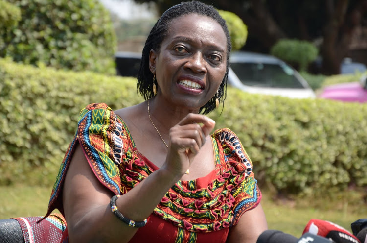 Narc Kenya leader Martha Karua addresses the press at the party's headquarters in Nairobi on August 10, 2020.
