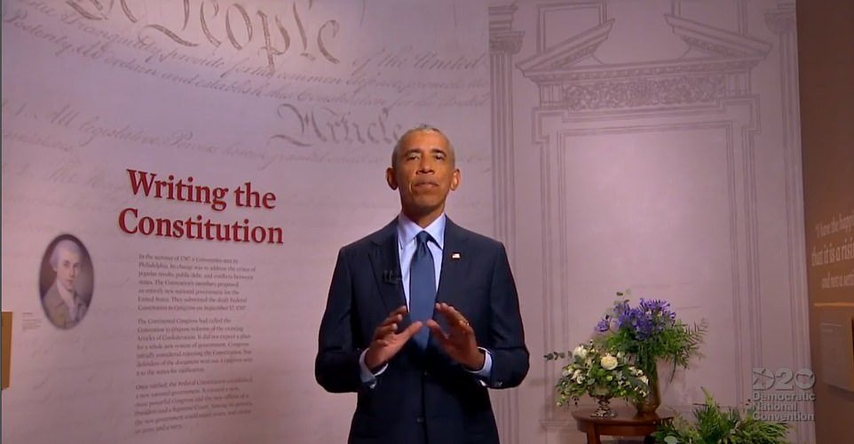 Obama delivered his speech during the Democratic National Convention virtual event