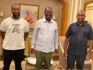 Hassan Joho pictured with Raila Odinga and Junet Mohamed in Dubai in July