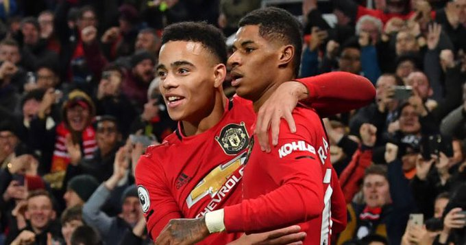 United's Mason Greenwood and Marcus Rashford.