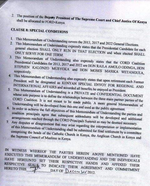 CORD MOU that Raila signed with Kalonzo and Wetangula