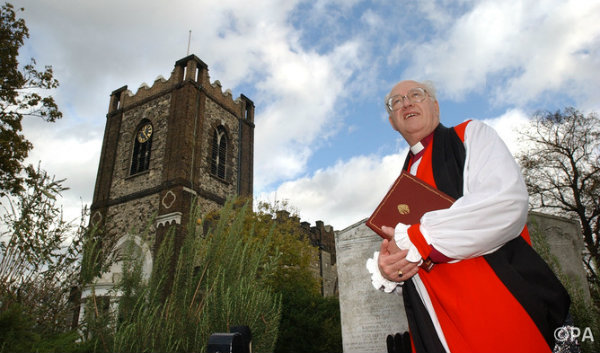 George Carey outside the parish Church in Dagenham where he was baptised. Kirsty Wigglesworth/PA Archive