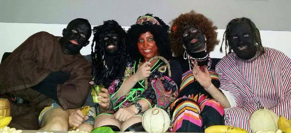 Policemen from Kremlin Bicetre ( Paris/France) disguised as blacks