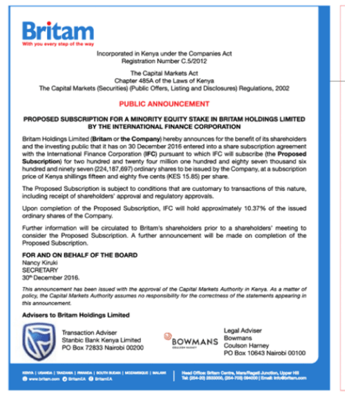 Britam WB Announcement