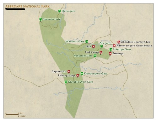 Aberdare National Park Kenya map