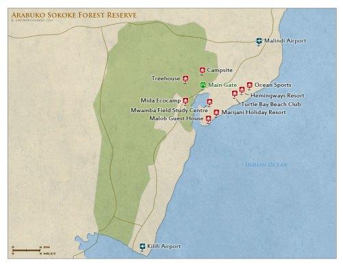 Arabuko Sokoke National Park map
