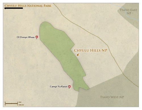 Chyulu Hills National Park Kenya map