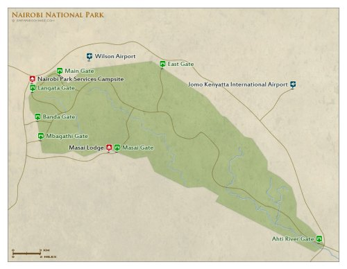Nairobi National Park Kenya map
