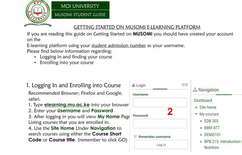 Moi university portal, Musomi website Registration Guide
