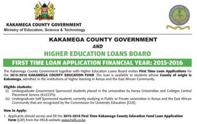 How to Apply for Kakamega County Government Student loan: Applications for first time applicants now open