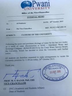 pwani university closed water