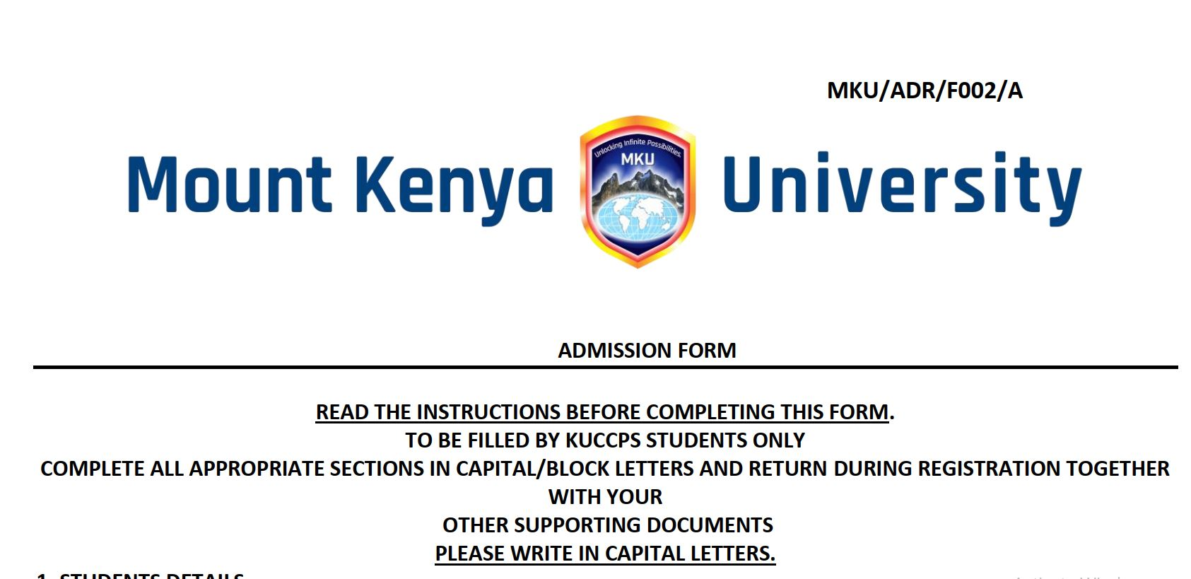Mount Kenya University (mku) admission letters for KUCCPS students, 2019 government Sponsored