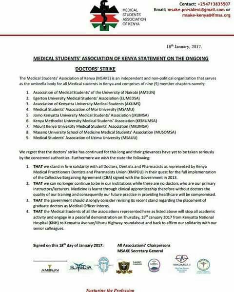 kenya medical students statement